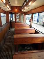 Sehnde bei Hannover/350676/fahrschulwagen-t2-nr-350-von-herbrand Fahrschulwagen T2 Nr. 350 von Herbrand, Baujahr 1900, war in Kiel eingesetzt, jetzt im Straßenbahnmuseum Sehnde/Wehmingen am 15.06.2014.Zu sehen ist die Inneneinrichtung mit den alten Schulbänken.