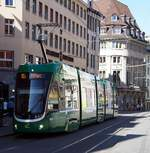 Be 4/6 Flexity 2 Nr.6014 der BVB von Bombardier in Basel am Markt am 29.09.2019.